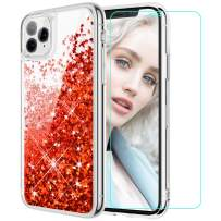 Maxdara Case for iPhone 11 Pro Max Case Glitter Women Girls (Screen Protector) Floating Liquid Quicksand Soft TPU Bling Shiny Sparkle Luxury Pretty Case for iPhone 11 Pro Max 6.5 inches (Red)