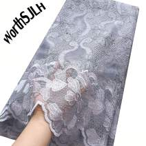 WorthSJLH Latest African Lace Fabric 2018 Nigerian Lace Fabric 2019 Cord Tulle French Laces Fabrics with Stones J854 (Grey)