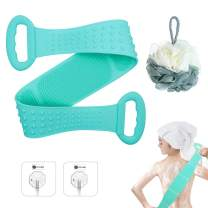 FULUDM Silicone Body Scrubber Back Scrubber for Shower Bath Back Cleaner Brush with Loofah, 31.5 inch / 80cm Length (Green)