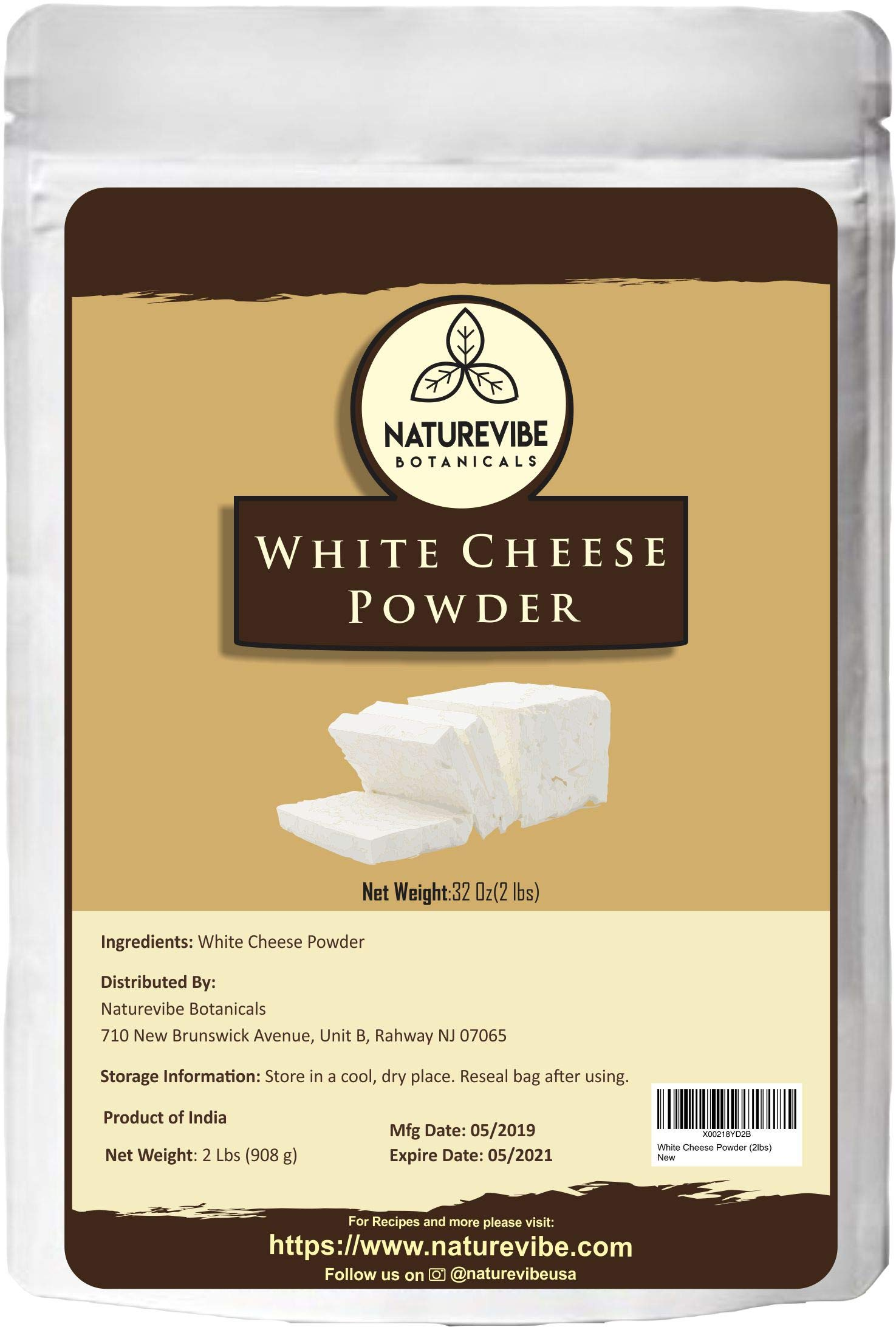 Naturevibe Botanicals White Cheese Powder (2lbs), | Gluten-Free and Non-GMO | Adds Taste and Flavor