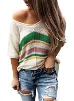Aleumdr Womens Summer Striped V Neck Knit Short Sleeve T Shirt Tunic Tops Blouse
