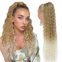 Long Curly Ponytail Hair Extension Ponytail for Women 30inch Drawstring Ponytail Clip in Curly Ponytail long Clip in Hair Extensions Hair Pieces High Puff (MT27/613)