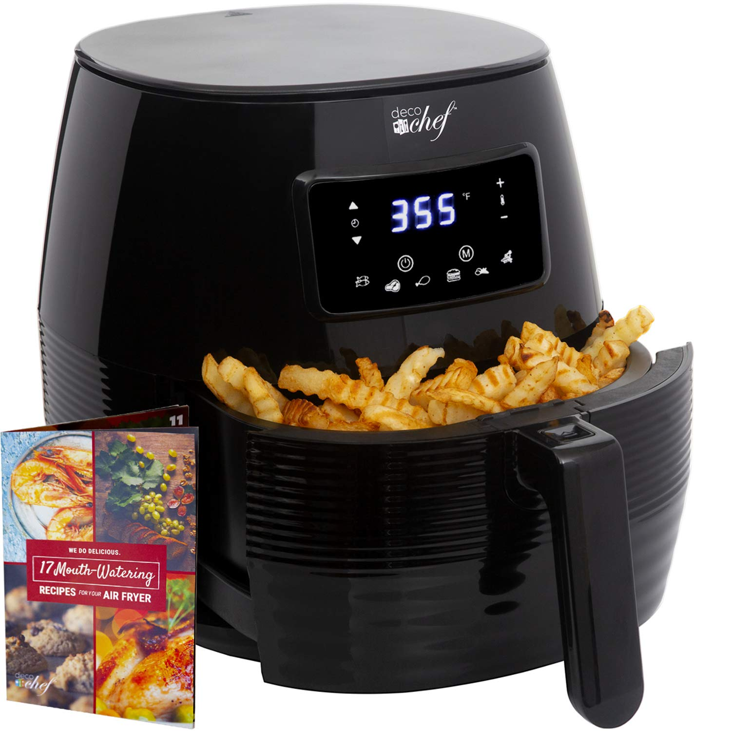 Deco Chef 5.8QT Digital Electric Air Fryer with Accessories and Cookbook- Air Frying, Roasting, Baking, Crisping, and Reheating for Healthier and Faster Cooking (Black)