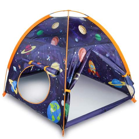 """MountRhino Rocket Ship Play Tent Playhouse for Kids Indoor Outdoor Astronaut Space Kids Play Tent, Portable Kids Pop Up Play Tent for Boys Girls Imaginative Camping Playground Games Gift 48""""x48""""x42"""