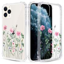 Caka Clear Case for iPhone 11 Pro Flower Clear Case Floral Pattern Design for Girls Women Girly Cute Slim Soft TPU Transparent Shockproof Protective Case for iPhone 11 Pro 5.8 inches (Pink Floral)