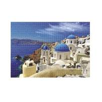 1000 Piece Puzzles Santorini Church Jigsaw Puzzles for Adults, Educational Intellectual Oil Painting Fun Family Puzzle Game for Kids …