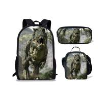 Micandle Dinosaur Animal School Backpack Lunch Bag Pencil case Set with Padded Straps 3D Cartoon Student Stylish Unisex Daypack for Boys Girls School Book Bags