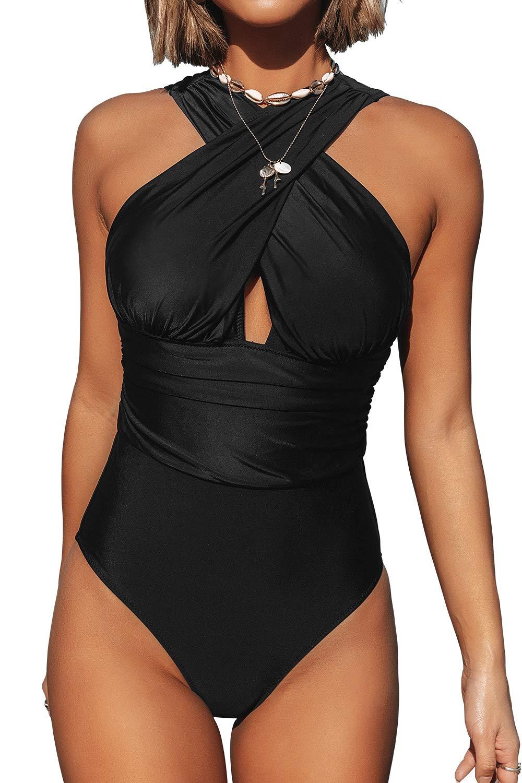CUPSHE Women's Deep Feelings Cross One-Piece Swimsuit Solid Black Bathing Suit