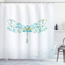"Ambesonne Dragonfly Shower Curtain, Macro Futuristic Digital Dragonfly Made with Spots and Dots Insect, Cloth Fabric Bathroom Decor Set with Hooks, 70"" Long, Blue Green"