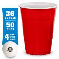 GoBig Giant Red Party Cups Packs with 4 XL Pong Balls | Pick 110oz or 36oz Sizes | Giant Cups for Beer Pong, Flip Cup or Novelty Use