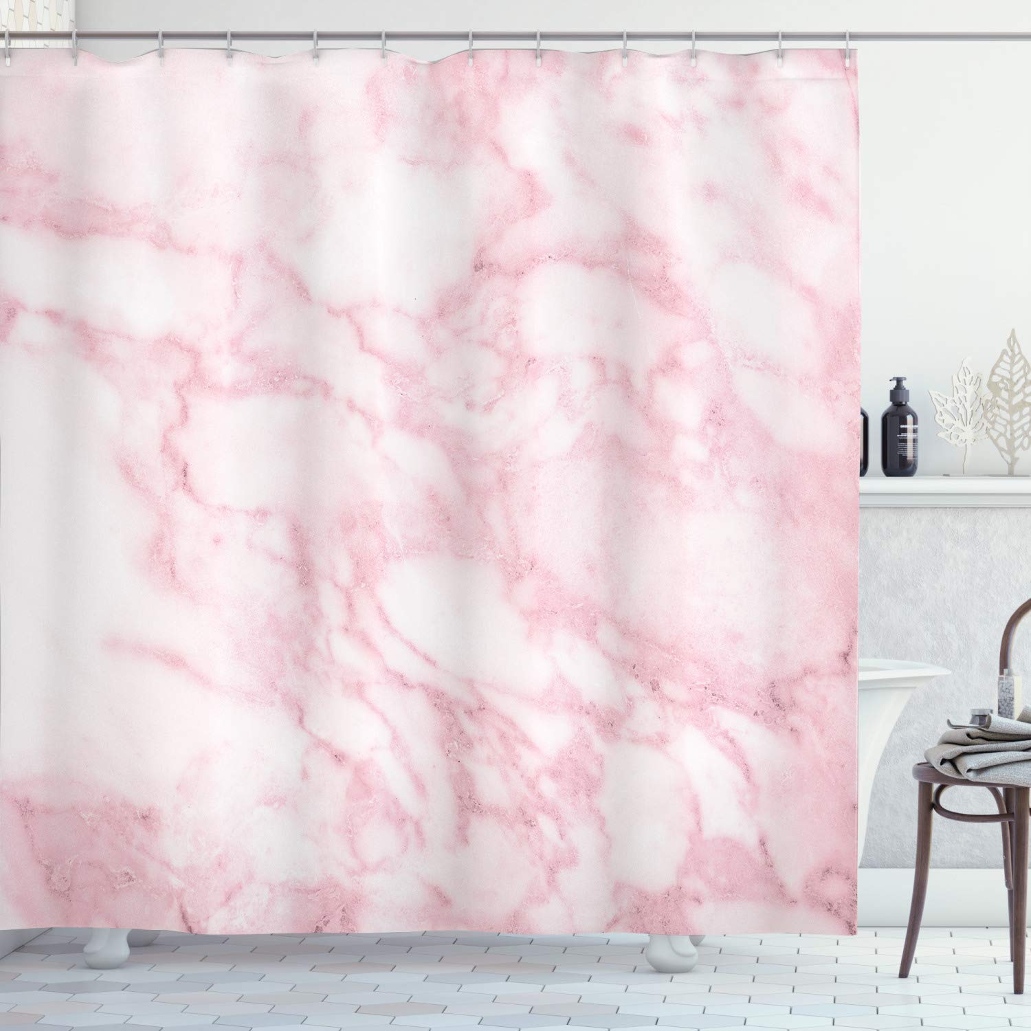 """Ambesonne Marble Shower Curtain, Soft Granite Texture Old Fashion Space Stone Abstract Macro Scratches Girls Image, Cloth Fabric Bathroom Decor Set with Hooks, 70"""" Long, Pink"""