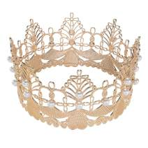 S SNUOY Bridal Wedding Crown Tiaras Bride Flower Hair Accessories Quinceanera Crowns Pageant Pearls Headpiece for Women (Rose Gold)