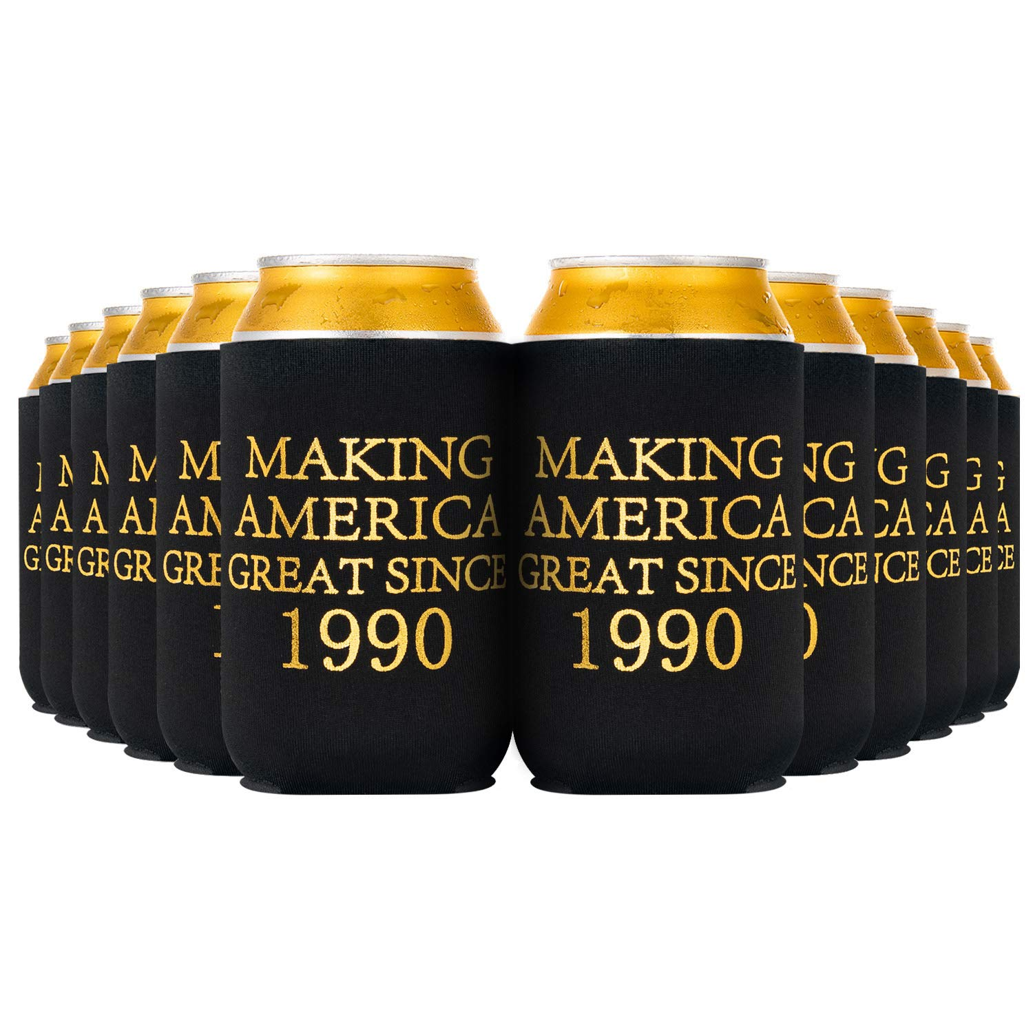 Crisky 30th Birthday Beer Sleeve, 30th Birthday Can Cooler Insulated Covers, 30th Birthday Decorations Black Gold Making America Great Since 1990, Neoprene Coolers for Soda, Beer, Can Beverage, 24 Pcs