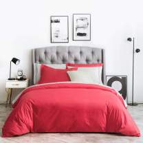SUSYBAO Duvet Cover 3 Piece Set King Size Rose Red Bedding Sets 100% Natural Cotton 1 Solid Color Duvet Cover with Hidden Zipper Ties 2 Pillow Shams Luxury Quality Soft Comfortable Breathable Durable