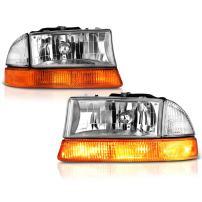 VIPMOTOZ Chrome Bezel OE-Style Headlight & Amber Turn Signal Lamp Assembly For 1997-2004 Dodge Dakota & Durango, Driver & Passenger Side