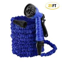 ActionEliters Expandable Garden Hose with 7 Function Hose Nozzles with Triple Latex Core Extra Strength Lightweght Fabric Flexible Expanding Water Hose (25ft Blue)