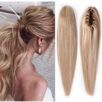 100% Remy Human Hair Ponytail Extension One Piece Claw/Jaw Clip Ponytail Hairpiece Clip In Pony Tail Extensions For Girl Lady Women Long Straight #18P613 Ash Blonde&Bleach Blonde 22'' 120g