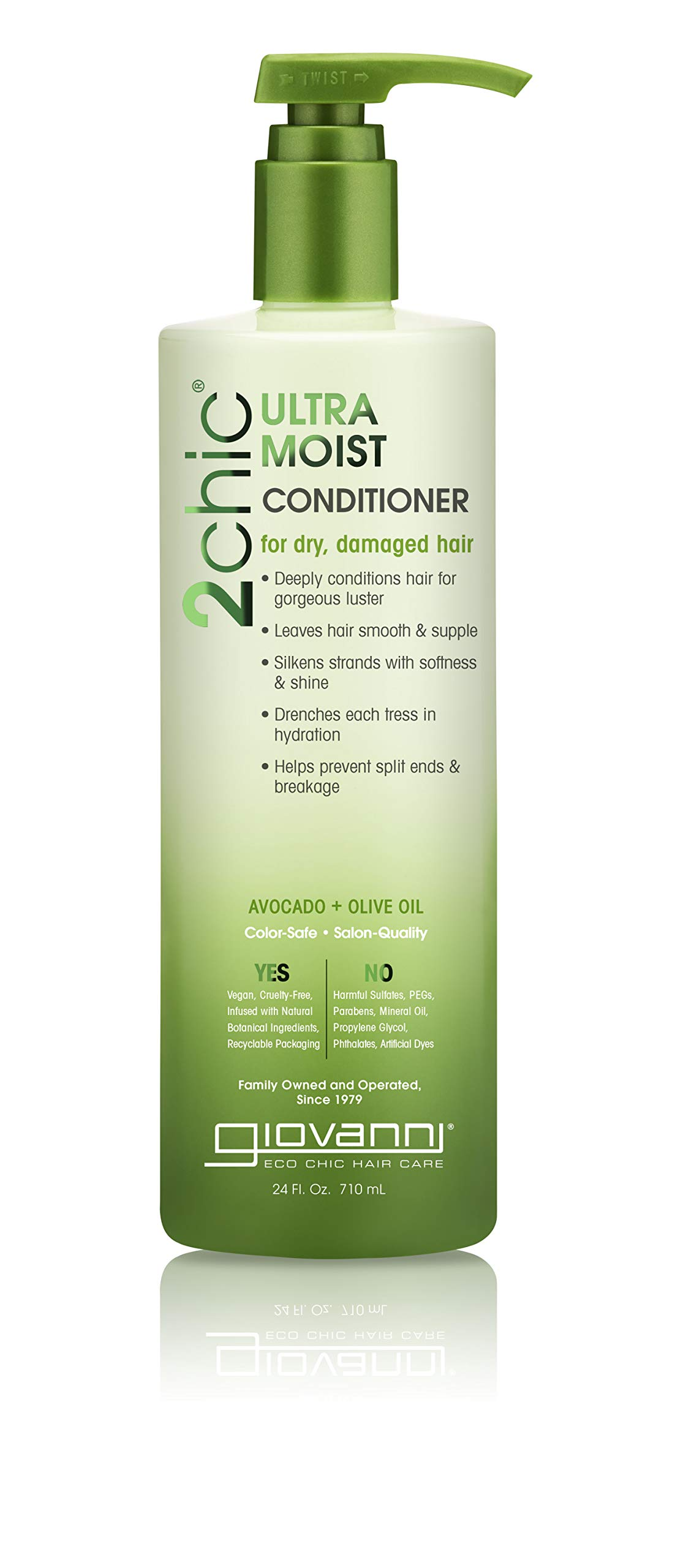 Giovanni Creamy Avocado & Olive Oil Conditioner - 2chic Ultra Moist Hydrating Formula For Shiny, Supple Hair, Sulfate Free, Color Safe, 24 Ounce (Pack of 1)