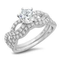 1.55ct Round Cut Halo Pave Solitaire Split Shank Accent Lab Created White Sapphire & Simulated Diamond Engagement Promise Statement Anniversary Bridal Wedding Ring Band set Curved Real 14k White Gold