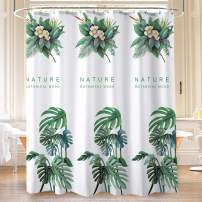 Warome Bathroom Shower Curtain -White with Green Leaf Shower Curtain, 100% Polyester Fabric No Liner Needed 72X72 Inches, Bath Curtain with Hooks, Durable Fabric Bathroom Accessories