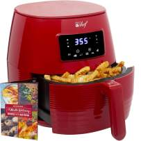Deco Chef 5.8QT Digital Electric Air Fryer with Accessories and Cookbook- Air Frying, Roasting, Baking, Crisping, and Reheating for Healthier and Faster Cooking (Red)