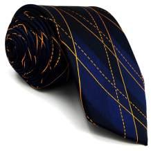 S&W SHLAX&WING Men's Tie Sets Blue Orange Geometric Silk New Design