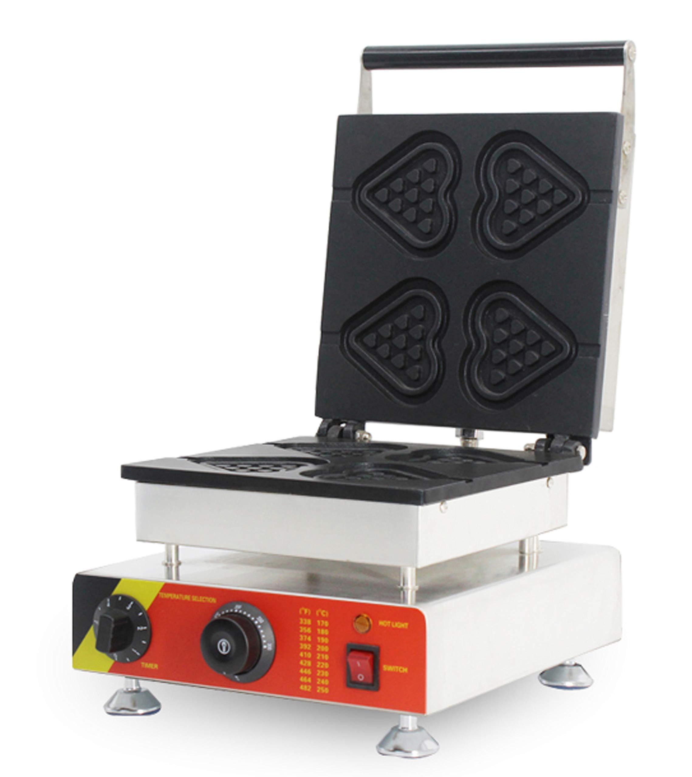 Hanchen NP-511 4pcs Commercial Waffle Maker Electric Waffle Machine No-stick Belgian Waffle Baker 110V/220V (Heart-shape)