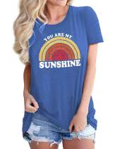 Nlife Women You are My Sunshine Hawaiian Beach Graphic T Shirts Vintage Tees with Sayings
