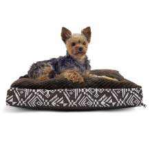 Furhaven Pet Dog Bed - Deluxe Plush Kilim Pillow Cushion Traditional Mattress Pet Bed w/ Removable Cover for Dogs & Cats, Southwest Espresso, Small