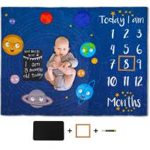 ICOSY Baby Monthly Milestone Blanket for Girls or Boys Plush Fleece Photography Backdrop Photo Prop Newborn Memory Blanket with Chalkboard and Marker