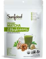 Sunfood Superfoods Matcha & Mushrooms   Powder Drink Mix for Metabolism and Energy   Great Substitute for Coffee   Organic, Non-GMO, Vegan, Gluten-Free, Kosher   5.82 oz Bag