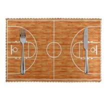 TianHeYue Wooden Basketball Court Placemats Set of 4, Non Slip Heat-Resistant Washable Table Place Mats for Kitchen Dining Home Decoration, 12 x 18 Inch