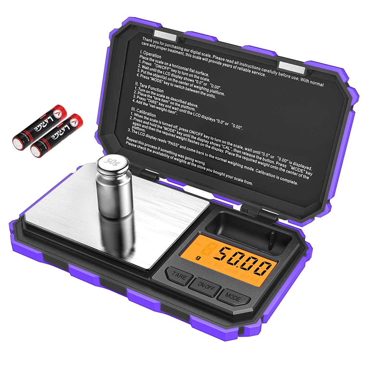 [Upgraded] KeeKit Digital Mini Scale, 200g 0.01g Pocket Scale with 50g Calibration Weight, Electronic Smart Scale with Tare & LCD Backlit Display for Food, Tablets, Jewelry (Battery Included) – Purple