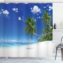 """Ambesonne Ocean Shower Curtain, Coastline Seascape Lagoon with Palm Leaf and Clouds Freedom Holiday Idyllic, Cloth Fabric Bathroom Decor Set with Hooks, 75"""" Long, White Green"""
