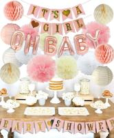 KREATWOW Girls Baby Shower Party Decorations It's A Girl Baby Shower Decorations Kit with It's A Girl Banner Tissue Paper Pompoms Lanterns Honeycomb Balls