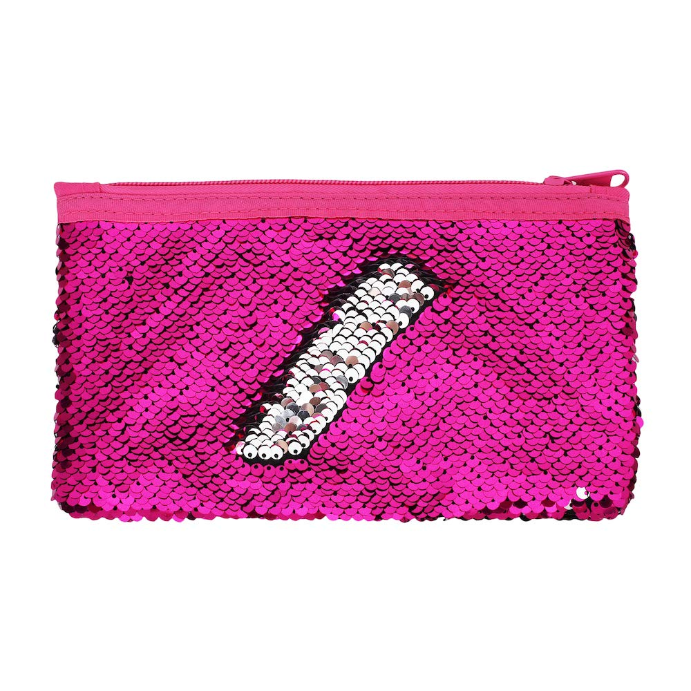 Cute Kids Pencil Case Glitter Reversible Sequin Pen Pencil Pouch for Girls Cosmetic Makeup Organizer Bag Purse for Women(Rose Red)