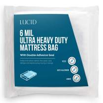 LUCID Storage or Disposal 6 Mil Ultra Heavy Duty Mattress Bag for Moving, Twin XL, Clear