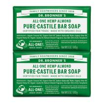 Dr. Bronner's - Pure-Castile Bar Soap (Almond, 5 ounce, 2-Pack) - Made with Organic Oils, For Face, Body and Hair, Gentle and Moisturizing, Biodegradable, Vegan, Cruelty-free, Non-GMO