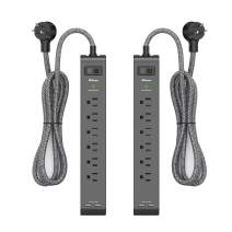 2 Pack Surge Protector Power Strip with 6 Outlets 2 USB Ports, 5-Foot Long Heavy-Duty Braided Extension Cords, Flat Plug, 900 Joules, 15A Circuit Breaker, Wall Mount FCC ETL Listed for Home Office