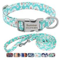 Beirui Floral Dog Collars and Leashes for Small Medium Large Dogs, Soft Ethnic Style Personalized Dog Collars with Name Plate for Pet Puppy Dogs