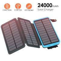 FEELLE Solar Charger 24000mAh Solar Power Bank with 3 Panels Portable Phone Chargers Battery Pack for Smartphones, Tablets, Outdoor Waterproof
