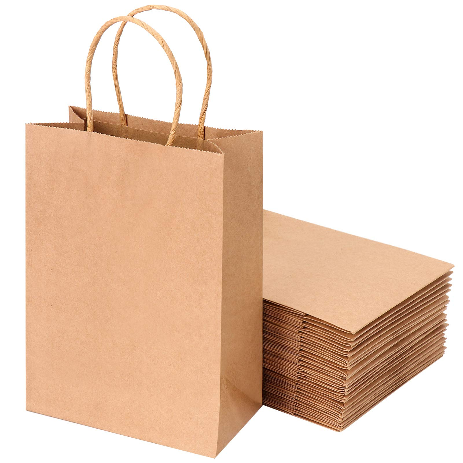 Brown Kraft Paper Bags with Handles - 27pcs Small Paper Gift Bags Bulk, Shopping Bags, Retail Bags, Party Bags, Favor Bags, Kraft Bags, Recycled Paper Bags for Business 5.7 x 3.14 x 8.26 Inches