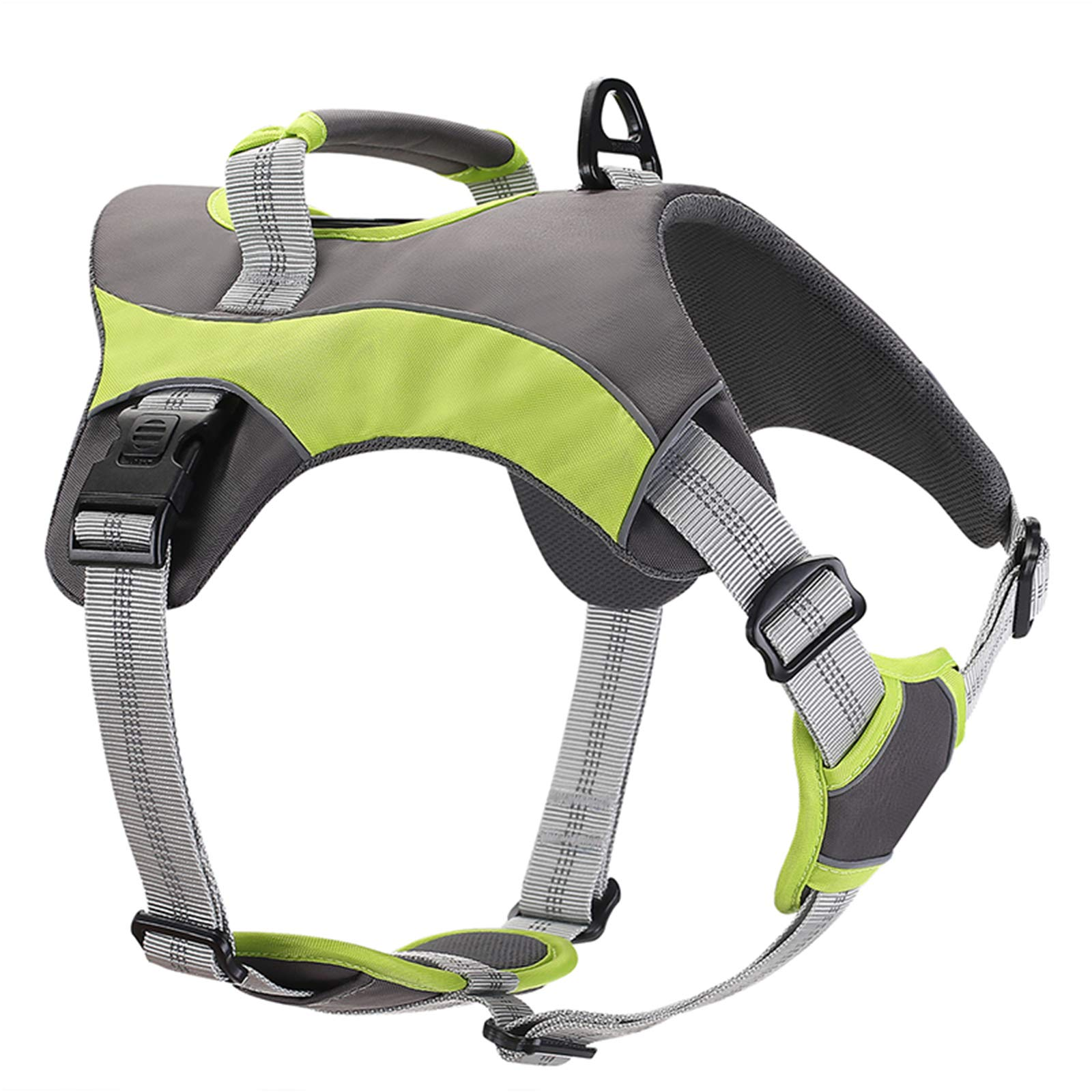 BLINGDARO Dog Harness , No Pull Harness for Large Dogs with Handle , Reflective Adjustable Vest Harnesses for Outdoor Walking Training (L:53.4-71.1CM (21-28''), Green)