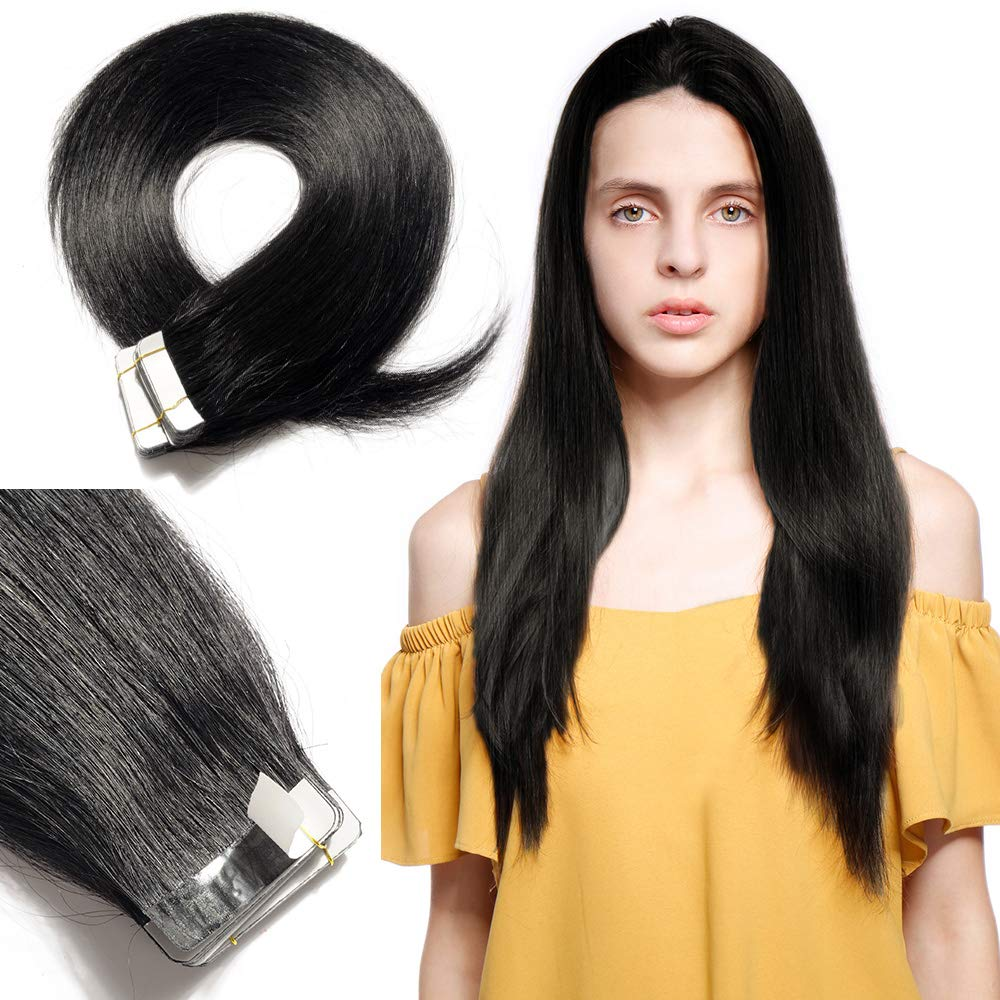 Tape In Real Human hair Extension Glue In Skin Weft Hair Extensions Rooted Tape in Remy Hair Seamless Invisible Double Sided Tape Human Hair Extensions For Women 22 inch 50g 20pcs #01 Dark Black