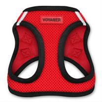 "Voyager Step-In Air Dog Harness - All Weather Mesh, Step In Vest Harness for Small and Medium Dogs by Best Pet Supplies - Red Base, X-Small (Chest: 13"" - 14.5"")"