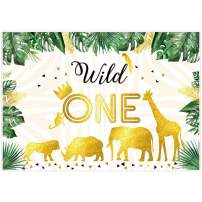 Allenjoy 7x5ft Jungle Wild One Birthday Backdrop Tropical Golden Animals Safari Photography Background Boy 1st Bday Party Decoration Cake Table Banner Photo Booth Props