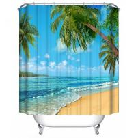 "Dimaka Water Resistant Fabric Natural Shower Curtain, Odorless Decoration Decor Blue Beach Bathroom Curtain [Relaxation Tropical],(71"" W x 71"" L, Beach and Coconut Tree, Coast)"