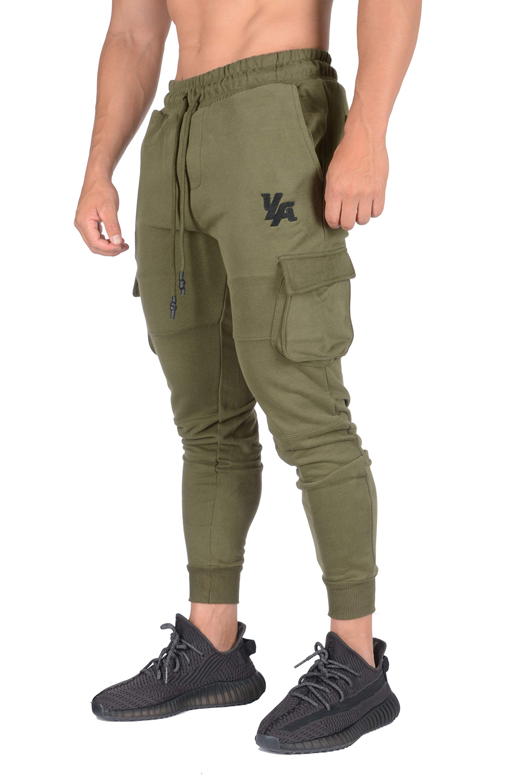 YoungLA Gym Joggers for Men   Skinny Tapered Cargo   Slim Fit Sweatpants  Workout Pants Clothes with Pockets   203