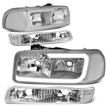 DNA Motoring HL-LB2-SIERRA99-CH-CL1 Chrome Housing Bumper Lights+Headlights With LED DRL Replacement For 99-06 Sierra