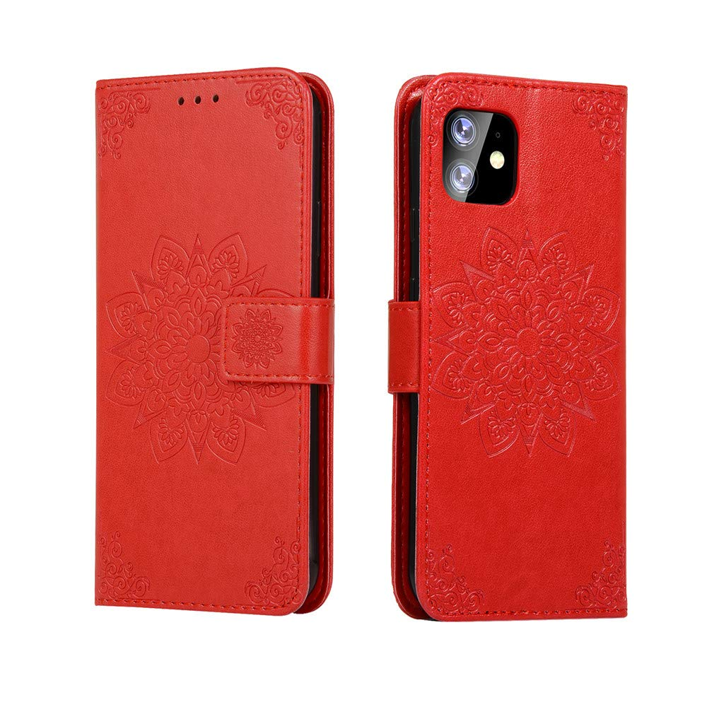 MEUPZZK iPhone 11 6.1 inch Wallet Case, 3D Mandala Flowers Embossed Premium PU Leather Kickstand Flip Phone Cover Card Holders & Hand Strap Wallet Case for iPhone 11 6.1 Inch 2019 Red